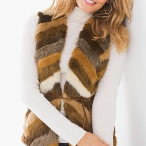 Chicos Faux Fur Sweater Vest